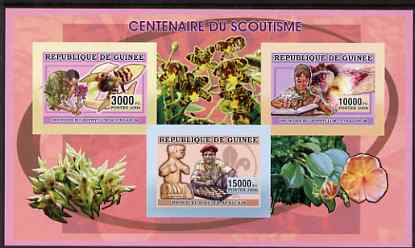 Guinea - Conakry 2006 Centenary of Scouting imperf sheetlet #03 containing 3 values (Orchids & Chess) unmounted mint Yv 2736-38