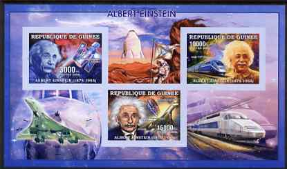 Guinea - Conakry 2006 Albert Einstein imperf sheetlet containing 3 values unmounted mint Yv 2685-87