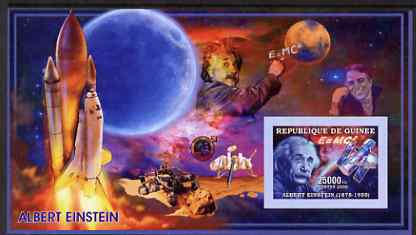 Guinea - Conakry 2006 Albert Einstein imperf s/sheet #1 containing 1 value (Space Shuttle & Hubble Telescope) unmounted mint Yv 319