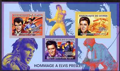 Guinea - Conakry 2006 Elvis Presley imperf sheetlet containing 3 values unmounted mint Yv 2688-90