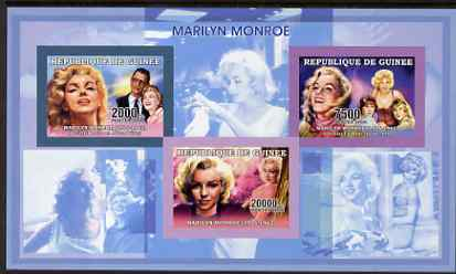 Guinea - Conakry 2006 Marilyn Monroe imperf sheetlet #1 containing 3 values unmounted mint Yv 2691-93