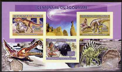 Guinea - Conakry 2006 Centenary of Scouting imperf sheetlet #01 containing 3 values (Dinosaurs & Minerals) unmounted mint Yv 2703-05, stamps on scouts, stamps on dinosaurs, stamps on minerals