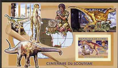 Guinea - Conakry 2006 Centenary of Scouting imperf s/sheet #02 containing 1 value (Dinosaurs) unmounted mint Yv 338