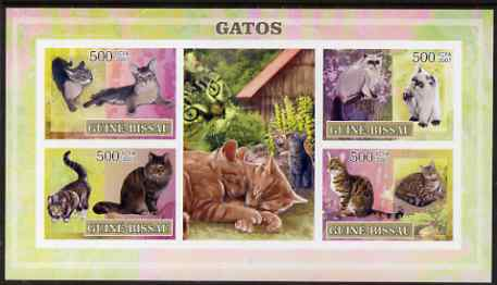 Guinea - Bissau 2007 Domestic Cats imperf sheetlet containing 4 values & 2 labels unmounted mint