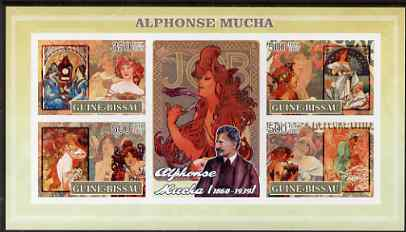 Guinea - Bissau 2007 Alphonse Mucha (artist) imperf sheetlet containing 4 values & 2 labels unmounted mint