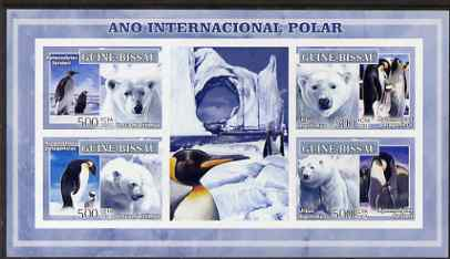 Guinea - Bissau 2007 International Polar Year - Penguins & Bears imperf sheetlet containing 4 values & 2 labels unmounted mint