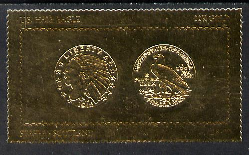 Staffa 1980 US Coins (1915 Half Eagle $5 coin both sides) on \A38 perf label embossed in 22 carat gold foil (Rosen 900) unmounted mint