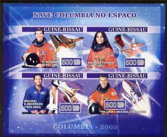 Guinea - Bissau 2007 Space Shuttle Columbia imperf sheetlet containing 4 values unmounted mint, Yv 2286-89