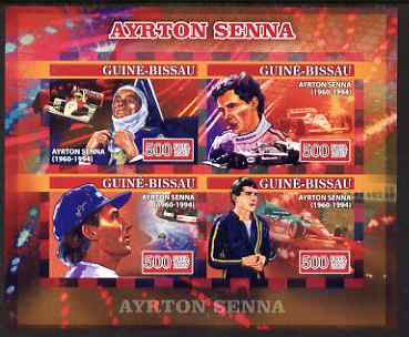 Guinea - Bissau 2007 Ayrton Senna imperf sheetlet containing 4 values unmounted mint, Yv 2294-97