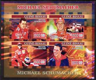 Guinea - Bissau 2007 Michael Schumacher imperf sheetlet containing 4 values unmounted mint, Yv 2298-2301