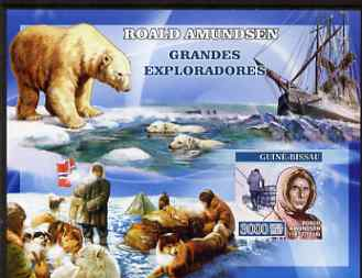 Guinea - Bissau 2007 Explorers #1 imperf s/sheet containing 1 value (Amundsen) unmounted mint, Yv 340