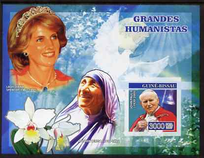 Guinea - Bissau 2007 Humanitarians imperf s/sheet containing 1 value (Pope, Mother Teresa & Diana) unmounted mint, Yv 347