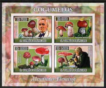 St Thomas & Prince Islands 2007 Alexander Fleming & Fungi imperf sheetlet containing 4 values unmounted mint