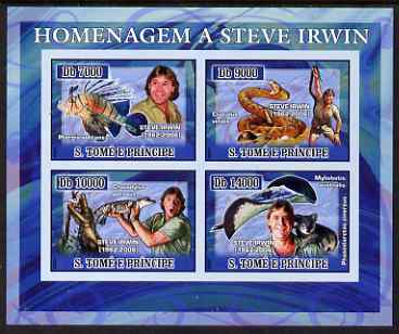 St Thomas & Prince Islands 2007 Tribute to Steve Irwin imperf sheetlet containing 4 values unmounted mint