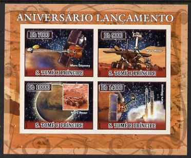 St Thomas & Prince Islands 2007 Space - Mars imperf sheetlet containing 4 values unmounted mint