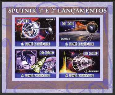 St Thomas & Prince Islands 2007 Space - Sputnk 1 & 2 imperf sheetlet containing 4 values unmounted mint