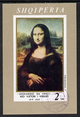 Albania 1969 Leonardo da Vinci Death Anniversary imperf m/sheet (Mona Lisa) cto used, SG MS 1313