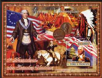 St Thomas & Prince Islands 2007 US Presidents #01 George Washington imperf s/sheet containing 1 value unmounted mint