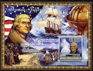 St Thomas & Prince Islands 2007 US Presidents #03 Thomas Jefferson imperf s/sheet containing 1 value unmounted mint