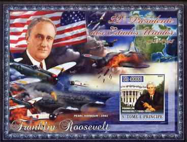 St Thomas & Prince Islands 2007 US Presidents #32 Franklin Roosevelt imperf s/sheet containing 1 value unmounted mint