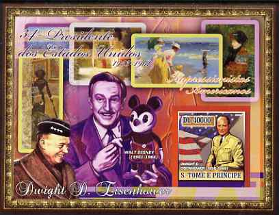 St Thomas & Prince Islands 2007 US Presidents #34 Dwight D Eisenhower imperf s/sheet containing 1 value unmounted mint