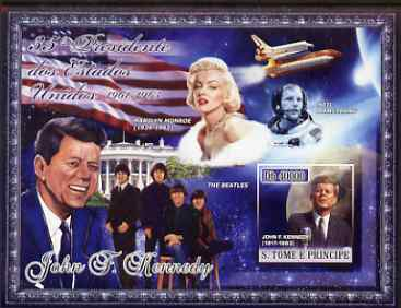 St Thomas & Prince Islands 2007 US Presidents #35 John F Kennedy imperf s/sheet containing 1 value unmounted mint