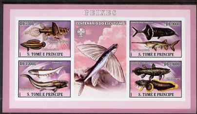 St Thomas & Prince Islands 2007 Fish imperf sheetlet containing 4 values plus label (with Scout logo) unmounted mint