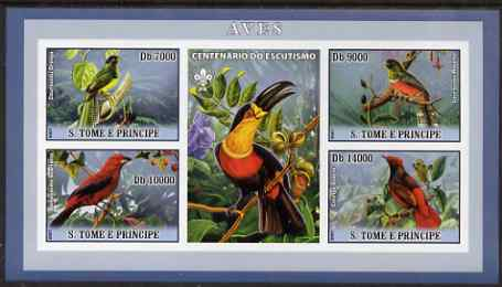 St Thomas & Prince Islands 2007 Birds #1 imperf sheetlet containing 4 values plus label (with Scout logo) unmounted mint