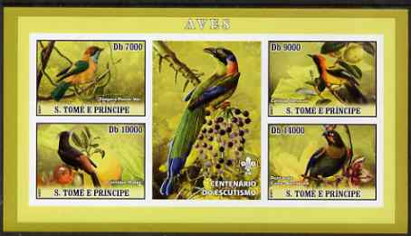 St Thomas & Prince Islands 2007 Birds #2 imperf sheetlet containing 4 values plus label (with Scout logo) unmounted mint