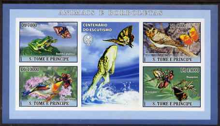 St Thomas & Prince Islands 2007 Animals & Butterflies #1 imperf sheetlet containing 4 values plus label (with Scout logo) unmounted mint