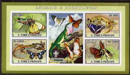 St Thomas & Prince Islands 2007 Animals & Butterflies #2 imperf sheetlet containing 4 values plus label (with Scout logo) unmounted mint