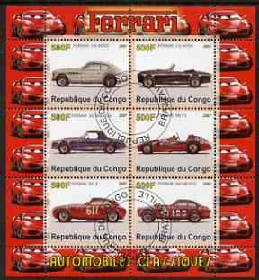 Congo 2007 Ferrari #1 perf sheetlet containing 6 values fine cto used