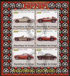Congo 2007 Ferrari #1 perf sheetlet containing 6 values fine cto used, stamps on , stamps on  stamps on racing cars, stamps on  stamps on cars, stamps on  stamps on ferrari