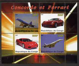 Congo 2007 Concorde & Ferrari perf sheetlet containing 4 values unmounted mint