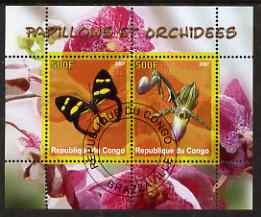 Congo 2007 Butterflies & Orchids #2 perf sheetlet containing 2 values fine cto used