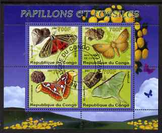 Congo 2007 Butterflies & Fossils #2 perf sheetlet containing 4 values fine cto used