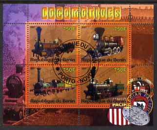 Benin 2007 Locomotives #1 perf sheetlet containing 4 values fine cto used