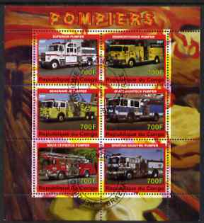 Congo 2007 Fire Engines #1 perf sheetlet containing 6 values fine cto used