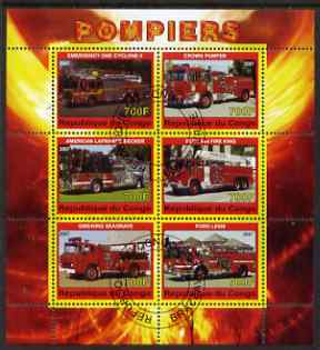 Congo 2007 Fire Engines #2 perf sheetlet containing 6 values fine cto used