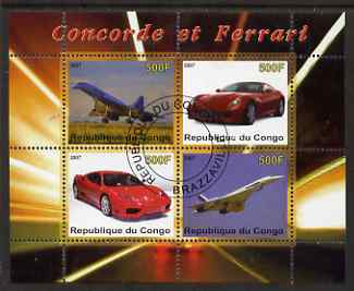 Congo 2007 Concorde & Ferrari perf sheetlet containing 4 values fine cto used
