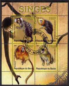 Benin 2007 Primates perf sheetlet containing 4 values fine cto used
