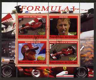 Congo 2007 Formula 1 perf sheetlet #2 containing 4 values fine cto used