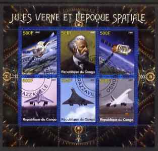 Congo 2007 Jules Verne & the Space Age (Concorde) perf sheetlet containing 6 values fine cto used