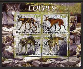Benin 2007 Wolves perf sheetlet containing 4 values fine cto used