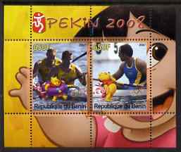 Benin 2007 Beijing Olympic Games #06 - Rowing (3) perf s/sheet containing 2 values (Disney characters in background) unmounted mint