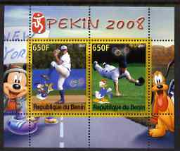 Benin 2007 Beijing Olympic Games #09 - Baseball (3) perf s/sheet containing 2 values (Disney characters in background) unmounted mint