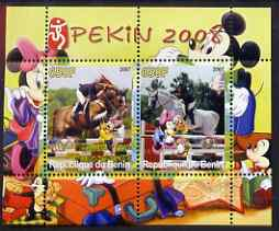 Benin 2007 Beijing Olympic Games #01 - Show Jumping (1) perf s/sheet containing 2 values (Disney characters in background) unmounted mint