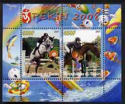 Benin 2007 Beijing Olympic Games #02 - Show Jumping (2) perf s/sheet containing 2 values (Disney characters in background) unmounted mint