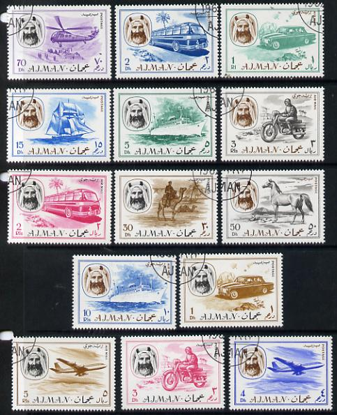 Ajman 1967 Transport perf set of 14 cto used (Mi 127-140)