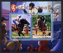 Benin 2007 Beijing Olympic Games #03 - Show Jumping (3) perf s/sheet containing 2 values (Disney characters in background) unmounted mint